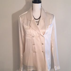 Vtg Chanel Silk Satin Double Breasted Cream Blouse